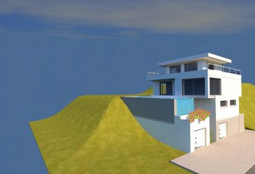 Conception de plan en 3d pour une maison avec piscine à débordement
