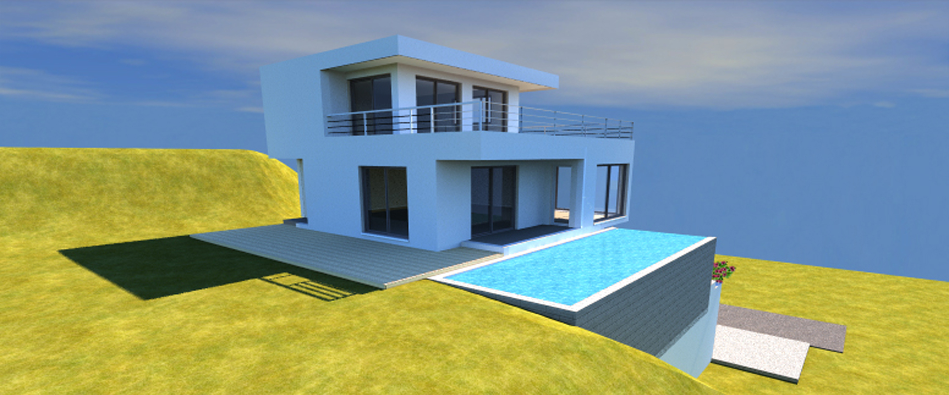 Conception 3d d un plan de maison avec piscine d bordement for Maison avec piscine a debordement