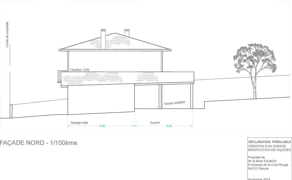 Plan de permis de construction (rénovation) d'une maison à Ciboure