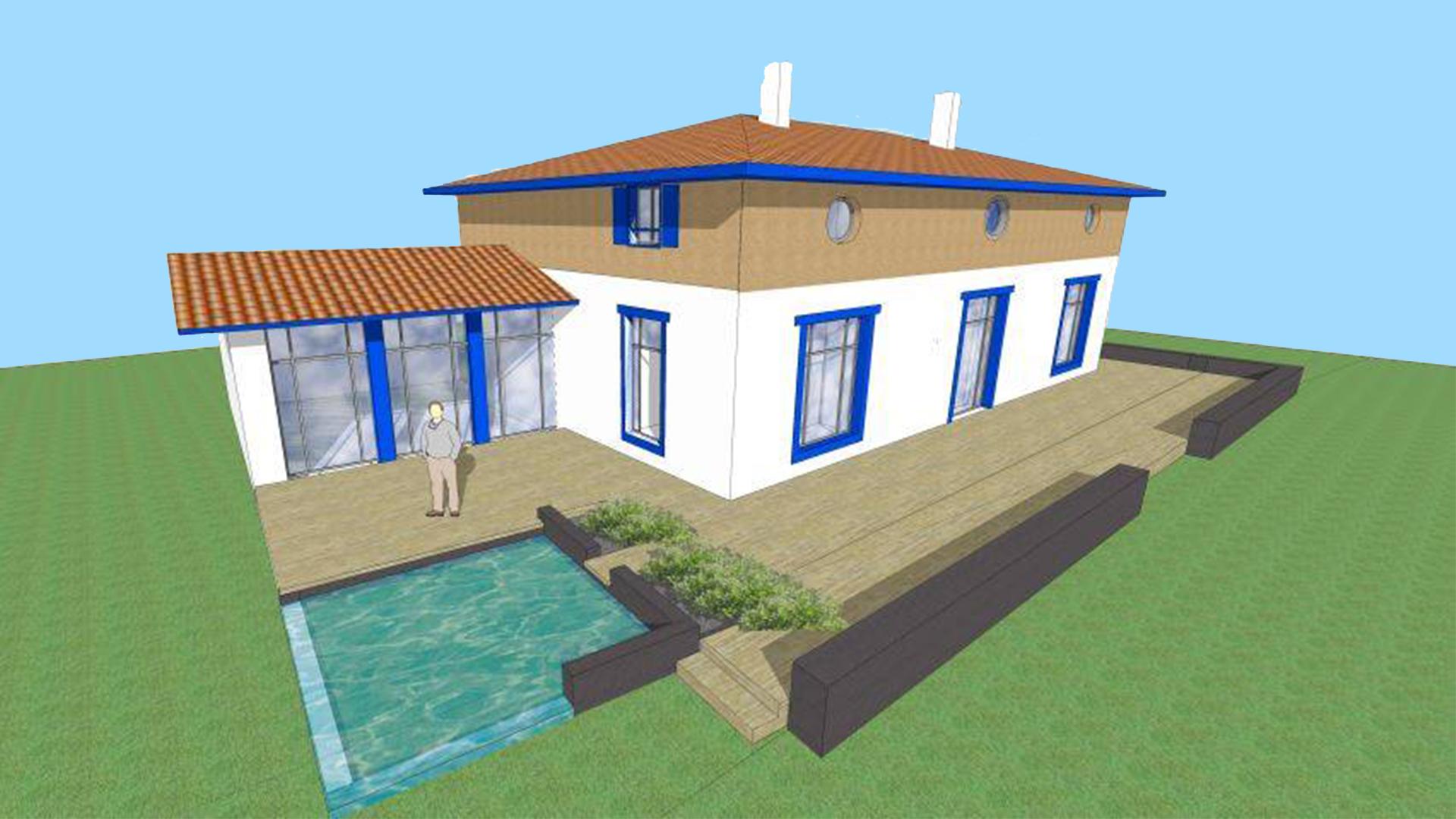 construction d 39 une villa avec piscine arcangues au pays basque. Black Bedroom Furniture Sets. Home Design Ideas